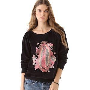 NEW RARE Wildfox Mother Mary Velour Sweatshirt
